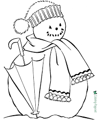 coloring pages snowman print