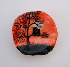 owl painting on shell halloween owls in tree silhouette