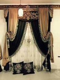 Green Curtains For Bedroom Ideas Old World Formal Draperies Layered Black And Gold With Tassel
