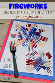 Craft Project Ideas For Kids - fireworks painted with a fork quick and easy craft project for