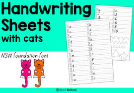 handwriting worksheets with cats by bright buttons tpt