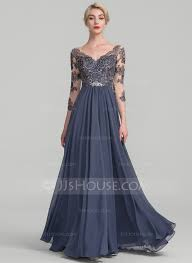 evening gown a line princess v neck floor length chiffon lace evening dress