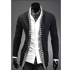 mens cardigan sweater houndstooth check shawl cardigan sweater