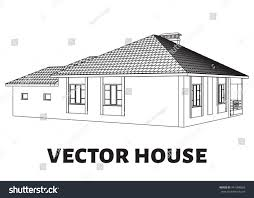 vector house outline contour stock vector 441088666 shutterstock