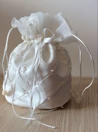bridesmaid gifts cheap white floral ribbon string satin bridal purses bridesmaids