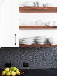 Penny Kitchen Backsplash Photos Hgtv Open Kitchen Shelves Gray Penny Tile Backsplash Loversiq