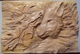 saatchi wood carving the and the wolf