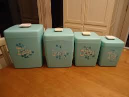 kitchen canister sets vintage set of 4 vintage 1950 s 60 s retro turquoise nesting canister set
