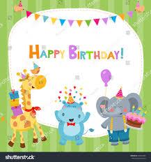 cute birthday card giraffe hippo elephant stock vector 559829404