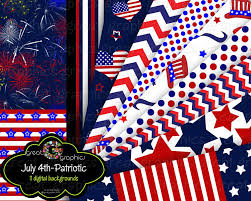 Printable Flags 4th Of July Patriotic Party Printable Background Paper Instant
