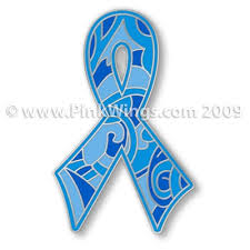 blue paisley ribbon pin prostate or colon cancer awareness