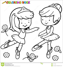 coloring page ballerina girls dancing black white outline image