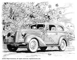 classic cars drawings book illustration