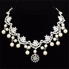 diamond pearl necklace set images Bride women lace pearl diamond necklace headpiece gothic jpg