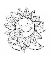 little sunflower smiling coloring page for kids flower coloring