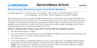 honda odyssey anti theft radio code my anti theft device keeps on beeping even when i am on the road