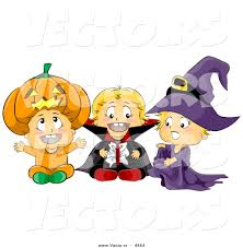 vector of halloween cartoon toddlers wearing pumpkin vampire and