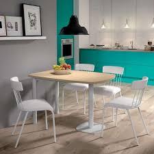 table cuisine 4 pieds table de cuisine demi oblongue en stratifié et métal pour petit