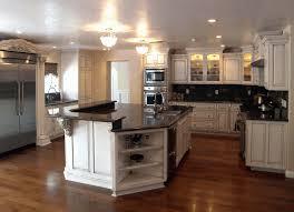floating island kitchen broken white wooden cabinet brown wooden