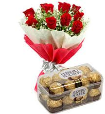 chocolate delivery online 57 roses bunch with ferrero rocher chocolate delivery