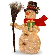 national tree 35 inch white ratton snowman holding