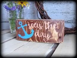 Rustic Wood Home Decor by Seas The Day Rustic Wood Block Sign Inspirational Gift Nautical