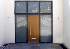 aluminium shaped windows and front door anthracite grey windows