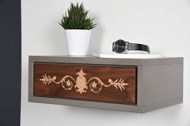 floating nightstand floating bedside table drawer in solid