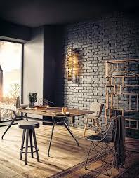 minimalist black round dining table scandinavian dining room
