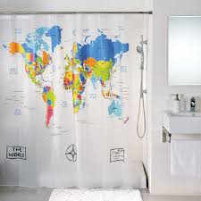 Cloth Shower Curtains World Map Cloth Shower Curtain In Curtains Besttabletfor Me