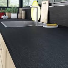 plan de travail cuisine noir plan de travail stratifié effet métal noir mat l 315 x p 65 cm ep