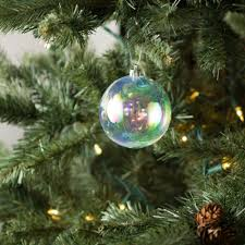 80mm plastic ornament clear iridescent set of 6 131079