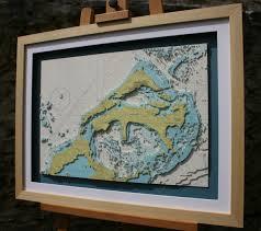 Map Of Bermuda Framed Hand Cut 3d Nautical Map Of Bermuda Made From Original