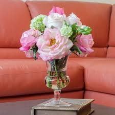 Flowers For Home Decor by Large Real Touch Orlane Rose Arrangement With Bud Cabbage Rose
