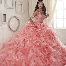 quince dresses new 2 quinceanera gowns pink scoop organza gown prom