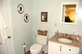 bright small bathroom space using calm blue wall paint decoration