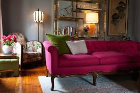 pink tufted sofa eclectic living room emily henderson