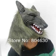 Wolf Halloween Costume Aliexpress Buy Halloween Creepy Animal Head Grey Werewolf