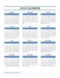 printable calendar year on one page 2016 calendar templates