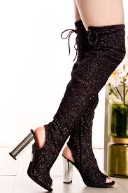 s boots with heels black sparkle open toe heel the knee chunky high heel boots