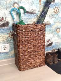 wicker basket for stuff brown bamboo handles tall storage bin