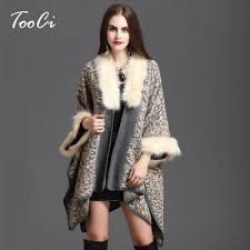 sweater with faux fur collar winter sweater cardigan high quality faux fur collar poncho