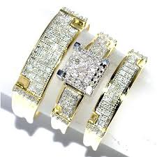 Wedding Rings Sets by Diamond Rings Sets Gold 7 Diamond Bridal Rings Set G I Size
