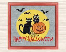 buy 2 get 1 free happy halloween cross stitch pattern spooky