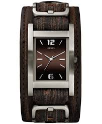 bracelet watches guess images Lyst guess watch men 39 s brown leather cuff strap 40x32mm u0281g1 jpeg