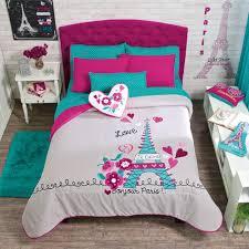 Teen Bedding And Bedding Sets by New Girls Teens Gray Aqua Pink Eiffel Tower Paris Comforter