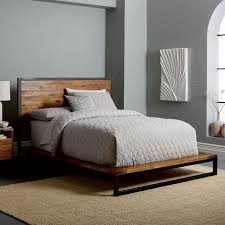 King Wood Bed Frame Logan Industrial Platform Bed West Elm
