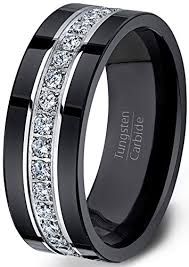mens wedding band black tungsten ring fully stacked with cubic