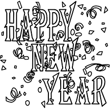 christmas and a happy new year black and white clipart