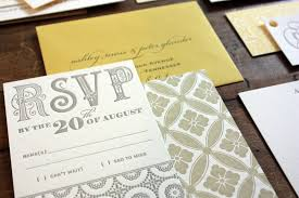 expensive wedding invitations s yellow and gray patterned letterpress wedding